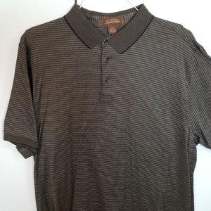 Tasso Elba Spa Polo Stripe Men Short Sleeve Shirt